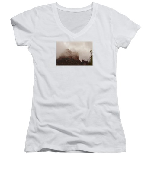 Women's V-Neck T-Shirt (Junior Cut) featuring the photograph Fog Over Snoopy Rock by Tom Kelly