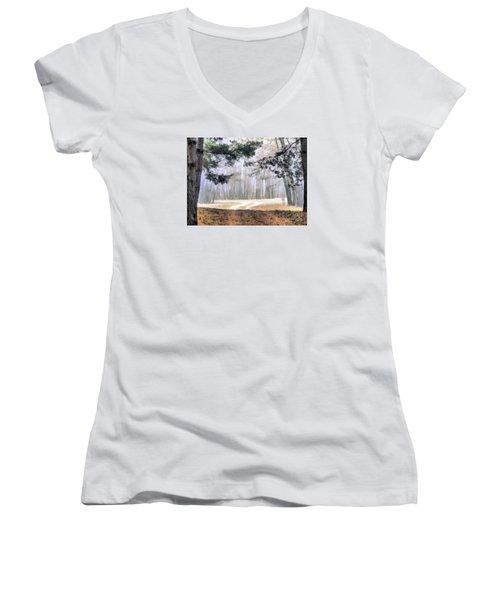 Foggy Autumn Landscape Women's V-Neck T-Shirt (Junior Cut) by Odon Czintos