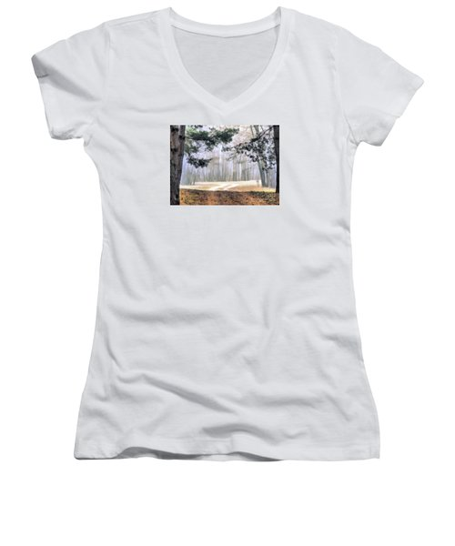 Foggy Autumn Landscape Women's V-Neck (Athletic Fit)