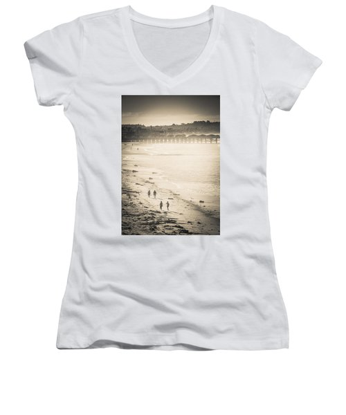 Foggy Beach Walk Women's V-Neck