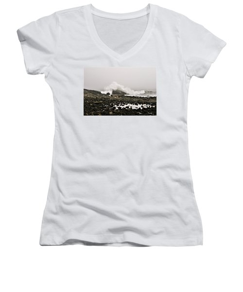 Foggy Day At The Coast Women's V-Neck (Athletic Fit)