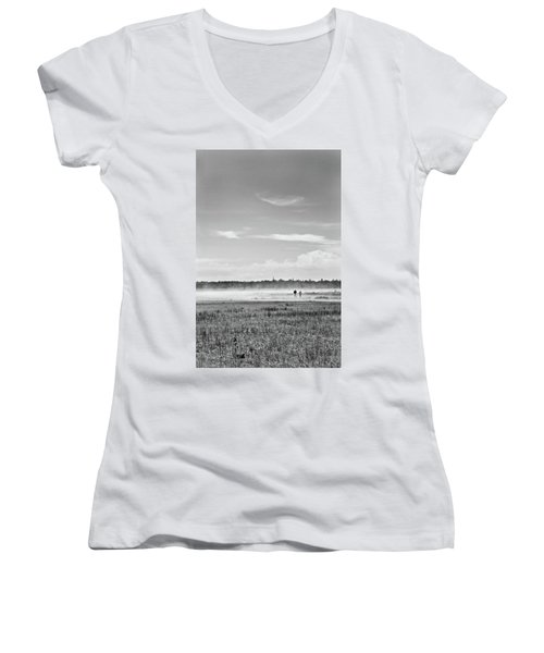 Foggy Day On A Marsh Women's V-Neck