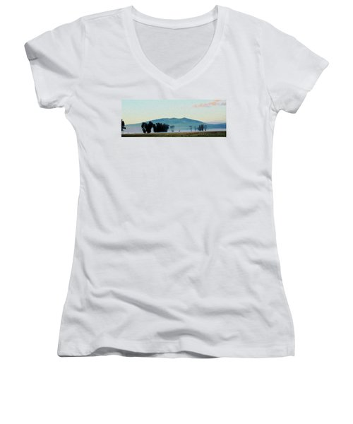Foggy Field Women's V-Neck T-Shirt