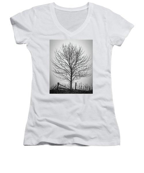 Foggy Lone Tree Hill Fine Art Women's V-Neck