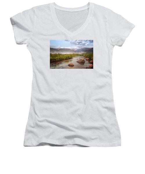 Foggy Morning In Moraine Park Women's V-Neck T-Shirt