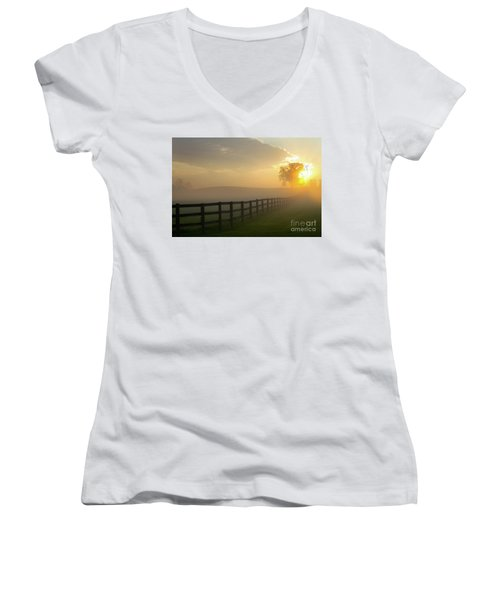 Foggy Pasture Sunrise Women's V-Neck T-Shirt