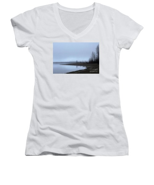 Women's V-Neck T-Shirt (Junior Cut) featuring the photograph Foggy Water by Victor K