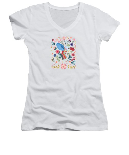 Folk Art Inspired Hummingbird In A Burst Of Springtime Blossoms Women's V-Neck