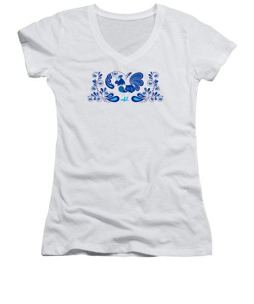 Folk Art Rooster In Blue Women's V-Neck T-Shirt