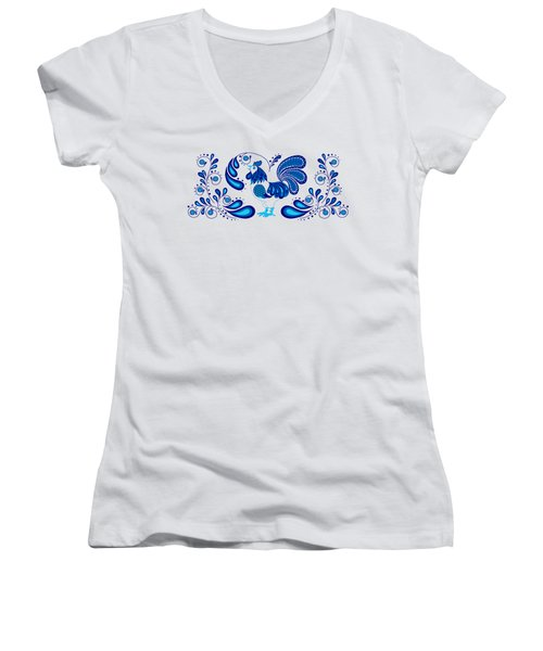 Folk Art Rooster In Blue Women's V-Neck (Athletic Fit)
