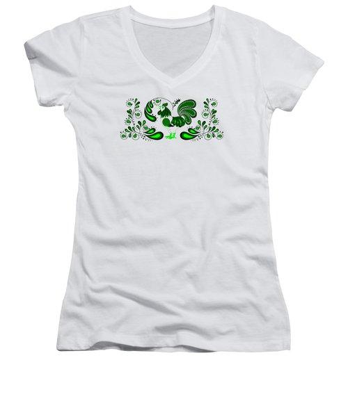 Folk Art Rooster In Green Women's V-Neck T-Shirt