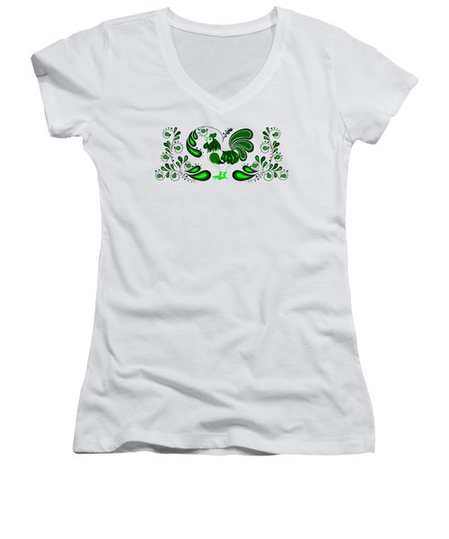 Folk Art Rooster In Green Women's V-Neck (Athletic Fit)