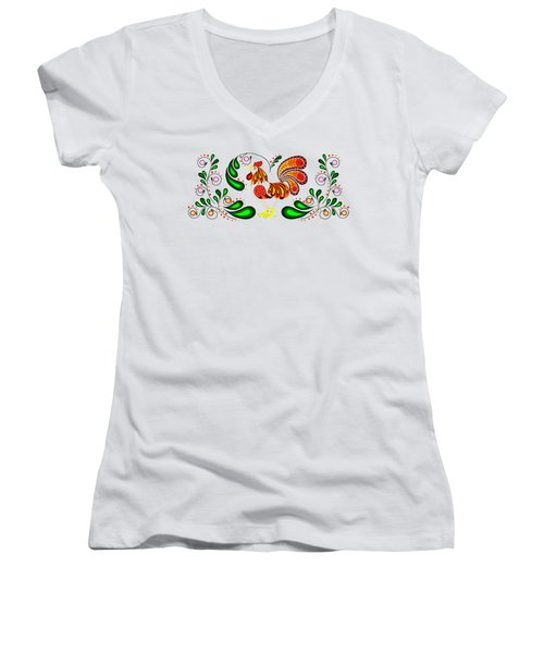Folk Art Rooster Multi Color Women's V-Neck T-Shirt