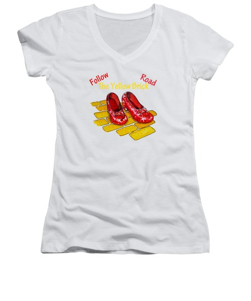 Follow The Yellow Brick Road Ruby Slippers Wizard Of Oz Women's V-Neck