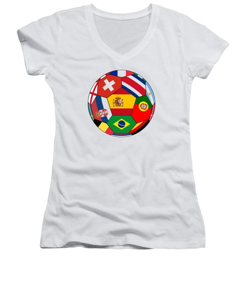Football Ball With Various Flags Women's V-Neck (Athletic Fit)