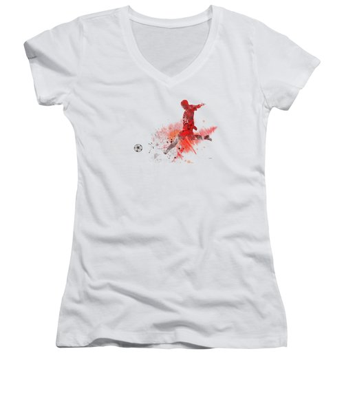 Football Player Women's V-Neck T-Shirt (Junior Cut) by Marlene Watson