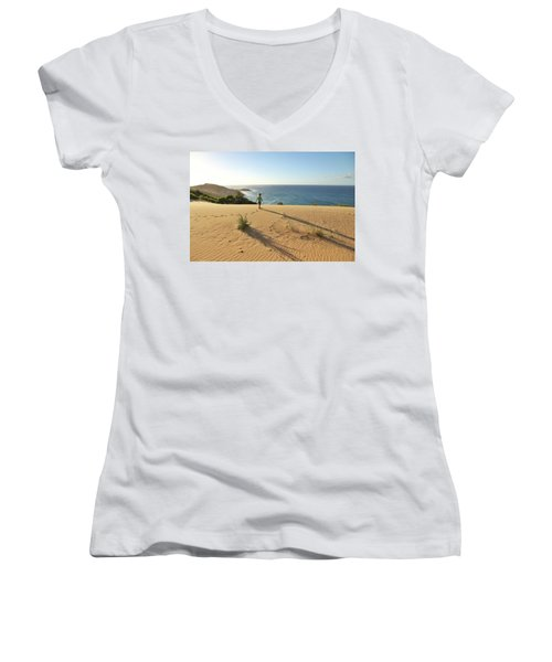 Footprints In The Sand Dunes Women's V-Neck