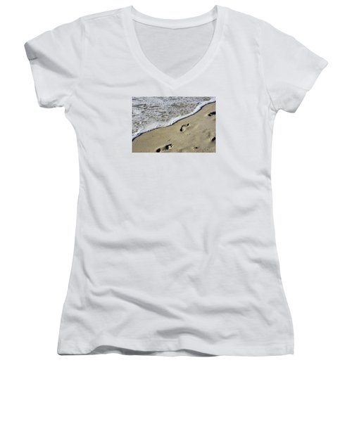 Women's V-Neck T-Shirt (Junior Cut) featuring the photograph Footprints On The Beach by Robb Stan