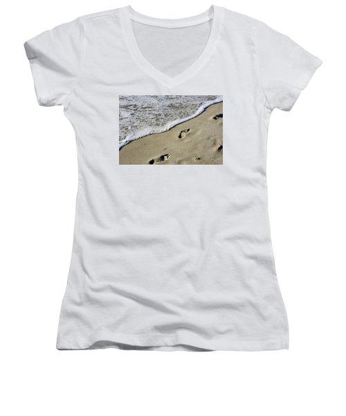 Footprints On The Beach Women's V-Neck
