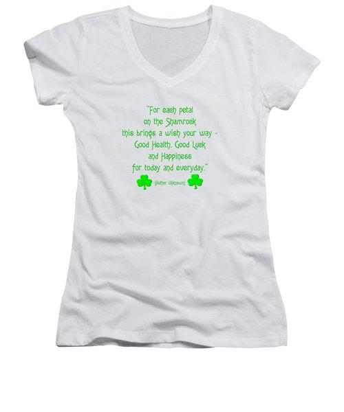 For Each Petal On The Shamrock Women's V-Neck T-Shirt (Junior Cut)