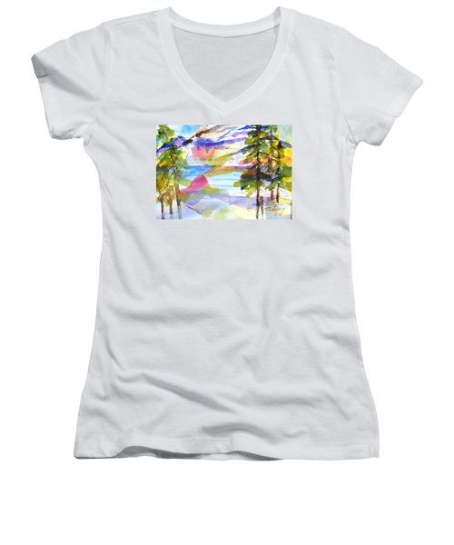 For Love Of Winter #1 Women's V-Neck T-Shirt (Junior Cut) by Betty M M Wong