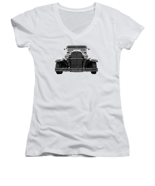 Ford Coupe Head On In Black And White Women's V-Neck