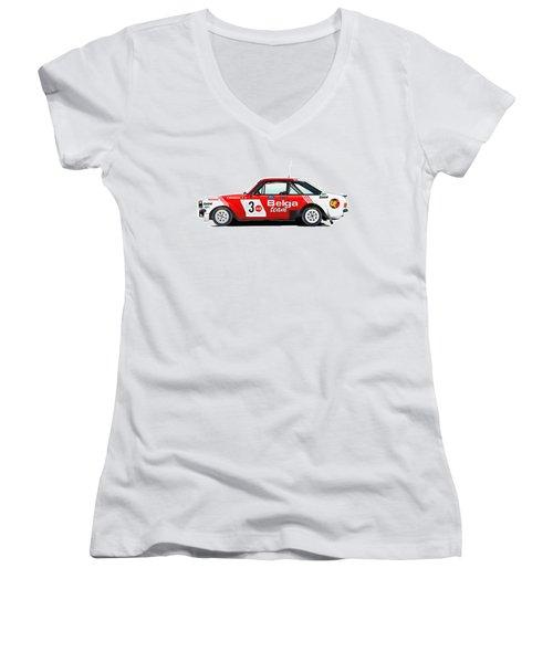Ford Escort Rs Belga Team Illustration Women's V-Neck T-Shirt