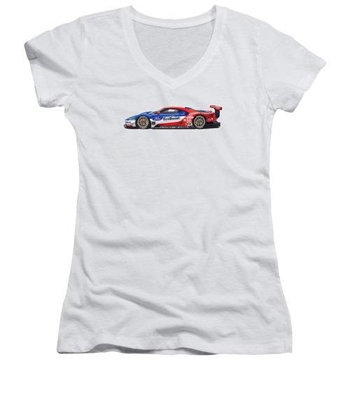 Ford Gt Le Mans Illustration Women's V-Neck (Athletic Fit)