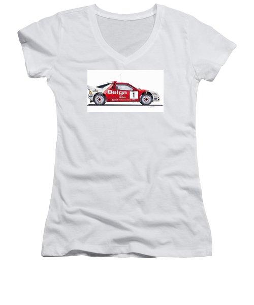 Ford Rs 200 Belga Team Illustration Women's V-Neck T-Shirt
