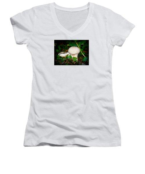 Forest Floor Mushroom Women's V-Neck T-Shirt (Junior Cut) by Lori Seaman