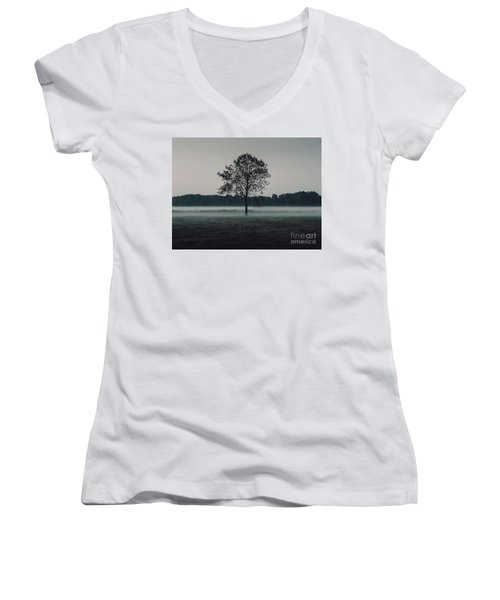 Women's V-Neck T-Shirt (Junior Cut) featuring the photograph Forest Fog by MGL Meiklejohn Graphics Licensing