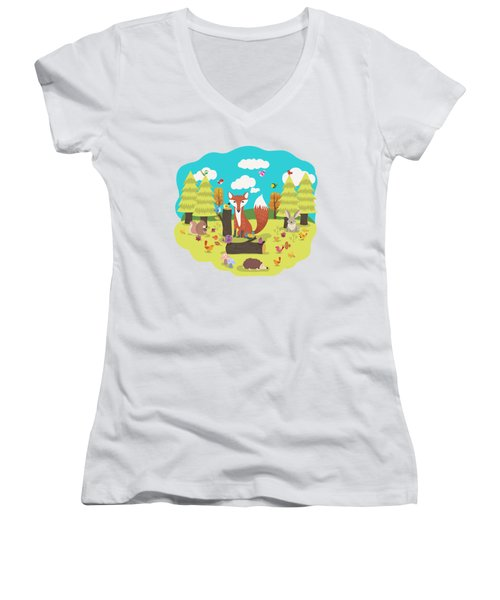 Forest Friends Fall Frolic Women's V-Neck (Athletic Fit)