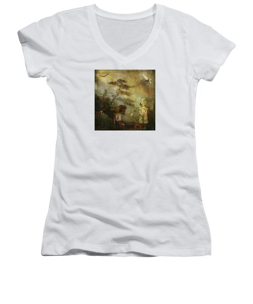 Forest Wonderland Women's V-Neck T-Shirt (Junior Cut) by Diana Boyd