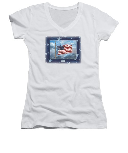 Forever Old Glory  Women's V-Neck T-Shirt (Junior Cut) by Herb Strobino