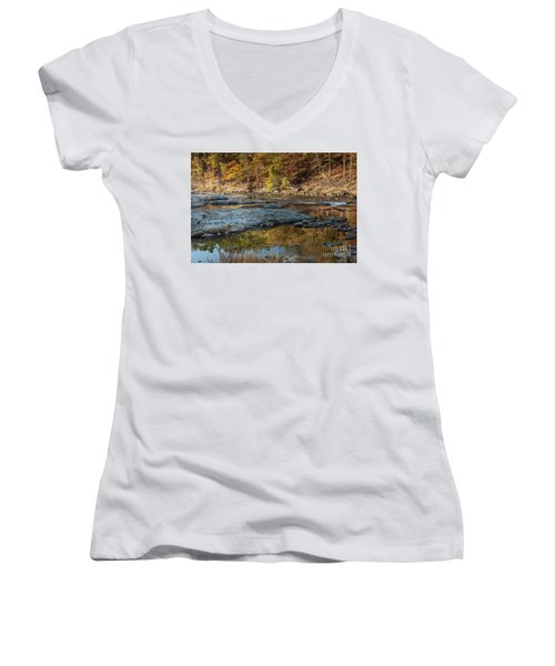 Women's V-Neck T-Shirt (Junior Cut) featuring the photograph Fork River Reflection In Fall by Iris Greenwell