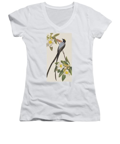 Fork-tailed Flycatcher  Women's V-Neck T-Shirt (Junior Cut)