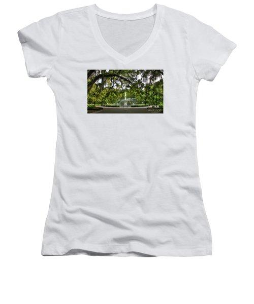 Forsyth Park Fountain Historic Savannah Georgia Women's V-Neck T-Shirt (Junior Cut) by Reid Callaway