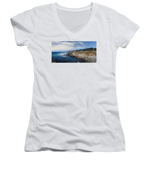 Fort Bragg Mendocino County California Women's V-Neck T-Shirt (Junior Cut) by Wernher Krutein