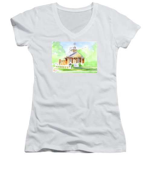 Women's V-Neck T-Shirt (Junior Cut) featuring the painting Fort Hill Methodist Church 2 by Kip DeVore