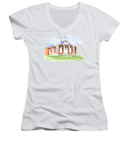Women's V-Neck T-Shirt (Junior Cut) featuring the painting Fort Hill Methodist Church by Kip DeVore
