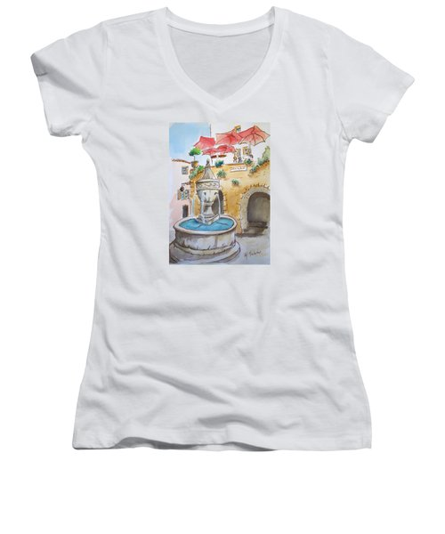 Women's V-Neck T-Shirt (Junior Cut) featuring the painting Fountain At St Paul De Vence by Marilyn Zalatan
