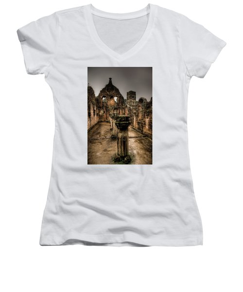 Fountains Abbey In Pouring Rain Women's V-Neck