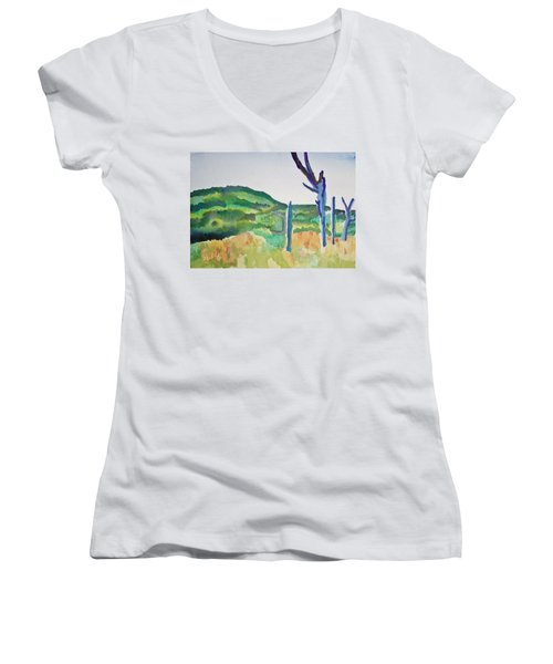 Four Dead Trees After Edward Hopper Women's V-Neck T-Shirt