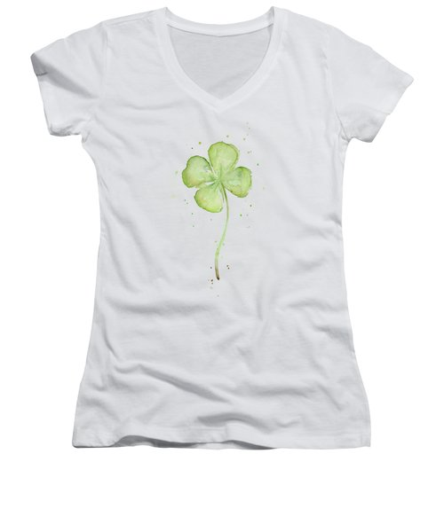 Four Leaf Clover Lucky Charm Women's V-Neck T-Shirt (Junior Cut) by Olga Shvartsur