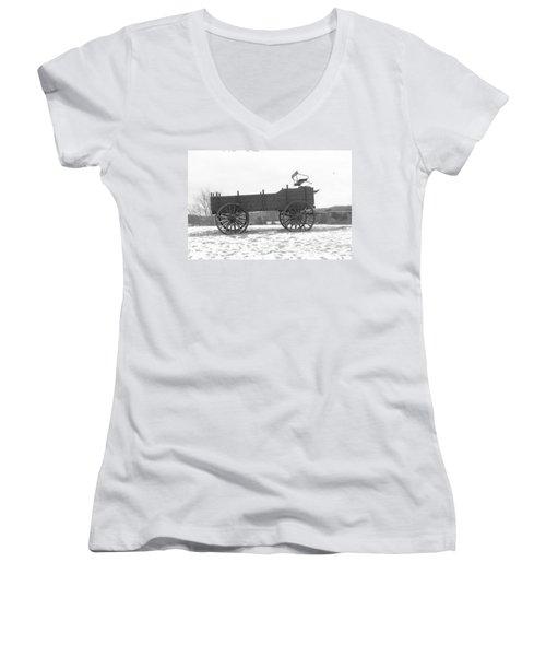 Women's V-Neck T-Shirt (Junior Cut) featuring the digital art Four Wheel Drive by Barbara S Nickerson