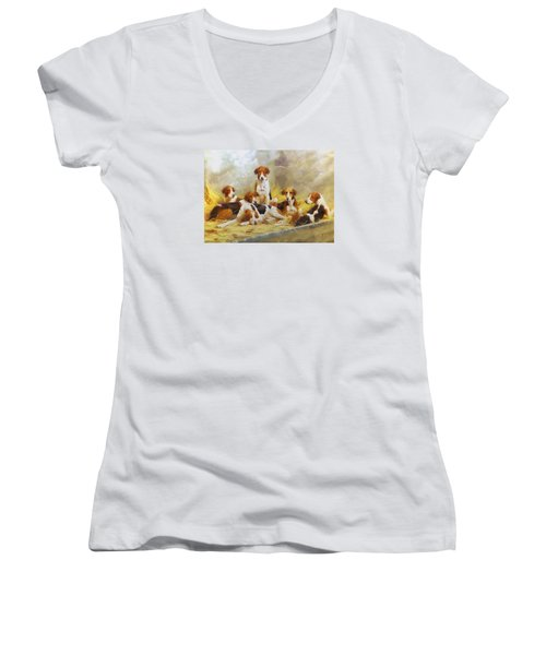 Women's V-Neck T-Shirt (Junior Cut) featuring the digital art Fox Hounds by Charmaine Zoe