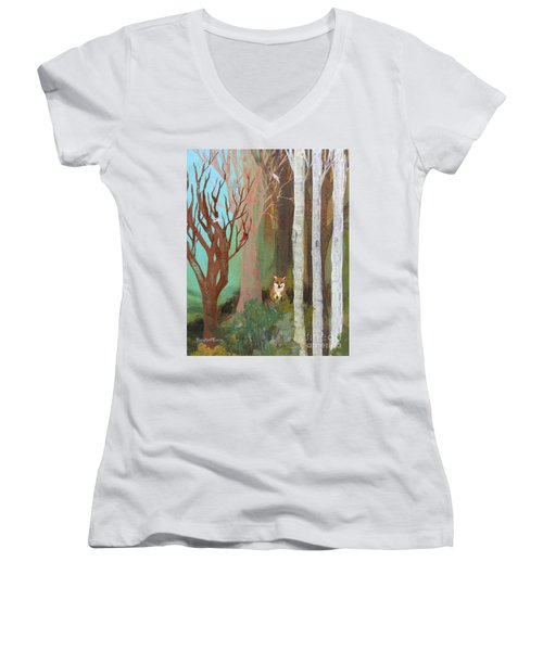Fox In The Forest  Women's V-Neck