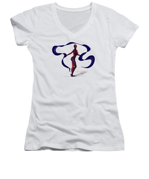 Fractal Jess With Ribbon Women's V-Neck T-Shirt