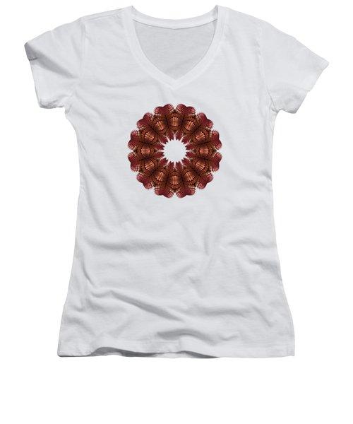 Fractal Wreath-32 Salmon T-shirt Women's V-Neck