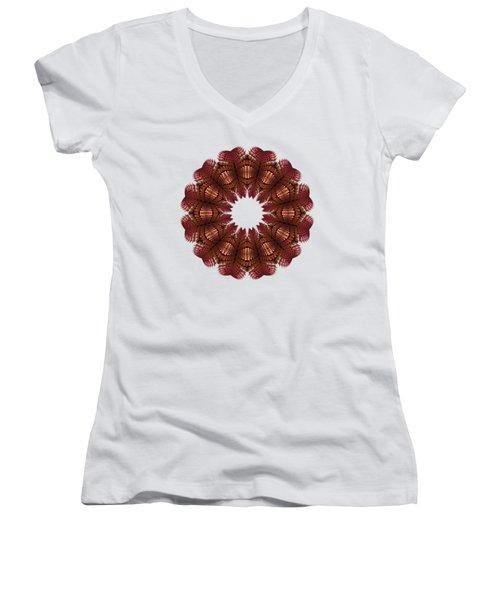 Fractal Wreath-32 Salmon T-shirt Women's V-Neck (Athletic Fit)
